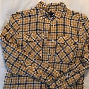 J Crew Navy and Mustard Button Down Shirt